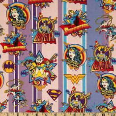Girl Power Wonder Woman Stripe Cotton Fabric Female Super Hero DC Comic Book fabric 23400205 on Etsy, $9.95