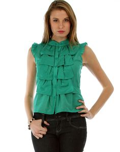 Green Tuxedo Ruffle Front | Glowbees Spring 2014