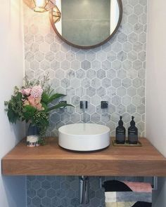49 Simply Black And White Tile Bathroom Decor Ideas Guest Bathrooms, Bathroom Renos, Master Bathroom, Rental Bathroom, Bathroom Remodeling, Downstairs Bathroom, Budget Bathroom, Sinks For Small Bathrooms, Small Downstairs Toilet