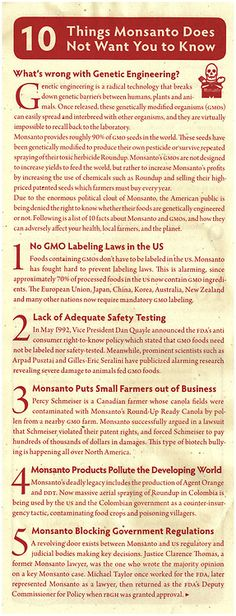 10 Things Monsanto does Not want you to know - Demand Labels on GMO products
