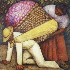 Le porteur de fleurs, Huile, peinture de Diego Rivera (1886-1957, Mexico)