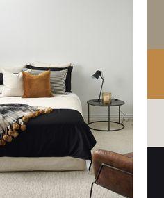 Life, Death, And Home Bedroom Master Color Palettes 82 Bedroom Colour Palette, Bedroom Colors, Home Decor Bedroom, Modern Bedroom, Bedroom Ideas, Danish Bedroom, Monochrome Bedroom, Bedroom Simple, Mustard Bedroom