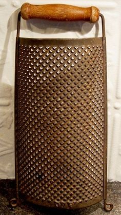 "Antique Primitive Punched Metal With Wood Handle ""1870"" Half Moon Kitchen Grater #Americana"