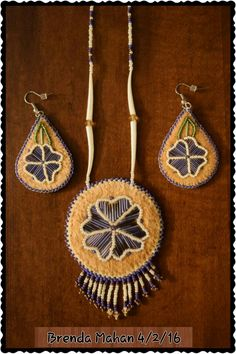 Athabascan beadwork by Brenda Mahan from Galena, AK 4/2/16 moosehide, porcupine quills and dentallium shells