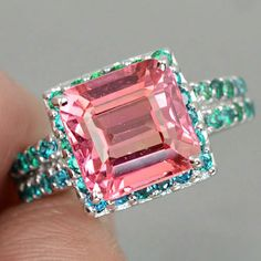 Birthday Gifts Vintage Cushion Cut Pink Padparadscha Sapphire with Blue Apatite Accents Engagement Promise Anniversary Ring Size 7 Silver Jewelry, Vintage Jewelry, Fine Jewelry, Silver Earrings, Diamond Gemstone, Gemstone Rings, Peach Sapphire, Sapphire Rings, Emerald Rings