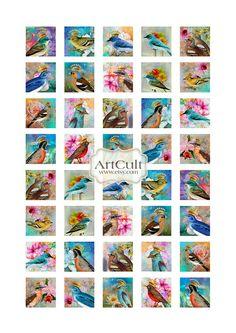 CROWNED BIRDS - 1x1 inch Digital Collage Sheet Printable Download for glass tile pendants magnets scrapbooking. $4.50, via Etsy.