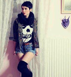 Skull Tee, Camo Shirt, Shredded shorts, knee high socks