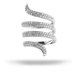 Spiral white diamond ring by Royal African Diamonds