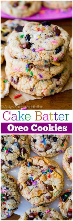 Soft-baked and ultra chewy chocolate chip cookies flavored with cake batter and studded with Oreo cookies! (desserts with oatmeal ovens)