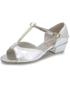 """Marika Ballroom Shoes with coag upper and adjustable t-bar strap with diamantes. Has a 1.2"""" cuban heel. Available in Silver only. Runs in full sizes starting from a size childs 11 to adults 5. Just visit www.dancegear.co.uk"""