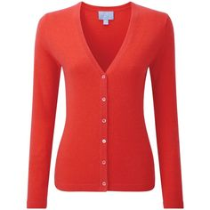 Pure Collection Melissa Cashmere V Neck Cardigan, Poppy Red ($135) ❤ liked on Polyvore featuring tops, cardigans, short-sleeve cardigan, button cardigan, plus size red cardigan, plus size long sleeve tops and cashmere cardigan