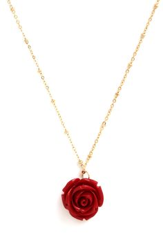 Retro Rosie Necklace in Red. Your fervor for all things retro has you ready and raring to rock this adorable necklace. #red #modcloth
