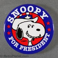 Snoopy for President Large Pin