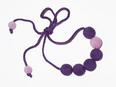 #Purple and #pink beaded #boho #necklace by OldCozyHome on Etsy