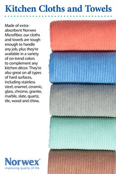 The Norwex Kitchen Cloths and Towels are absorbent and fast drying. Kitchen cloths are fantastic for wiping kitchen counters, table tops, stove tops, cleaning the fridge and kitchen spills. Made of Norwex's outstanding microfiber, these items are extra absorbent and perfect for a variety of kitchen jobs. www.vanessapronge.norwex.biz