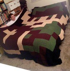 Crocheted Legend of Zelda pixel blanket