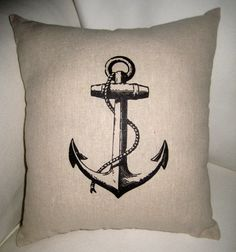 French Anchor Nautical Inspired Pillow, Antique Boating Cushion, French Country, Beach House, Cottage, Neutral Home Decor. $17.79, via Etsy.