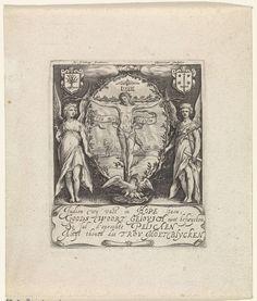 Jacob Matham   Blazoen of nieuwjaarskaart van de Haarlemse rederijkerskamer De Pellicaen, Jacob Matham, 1597 - 1617   Blazoen of nieuwjaarskaart van de Haarlemse rederijkerskamer De Pellicaen. In het midden in een ovaal Christus aan het kruis; hierbij een banderol met het devies: Trou moet blycken. Op de achtergrond Aeneas zijn vader reddende. Aan weerszijden van het ovaal twee staande engelen. Hieronder op een cartouche een vierregelig vers.
