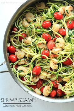 Healthy never tasted so good with this Shrimp Scampi & Zucchini Noodles, made in less than 30 minutes. | www.joyfulhealthyeats.com