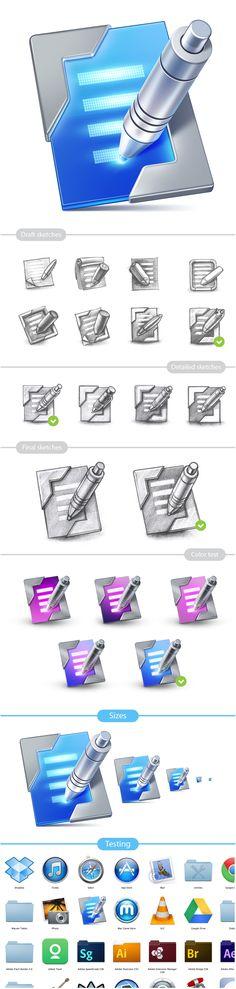 Поиск идеи, выбор, тонирование финальной версии иконки, тестирование рядом с другими