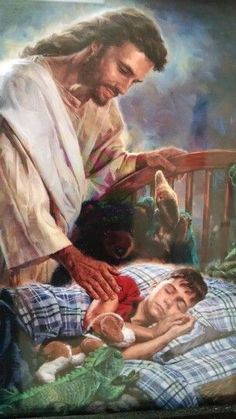 ❤️Jesus will never leave us! He is always watching over us! Thank you Jesus! What a beautfiul image! Pictures Of Jesus Christ, Religious Pictures, Religious Art, Jesus Our Savior, Jesus Is Lord, Image Jesus, Jesus Painting, Jesus Christus, Saint Esprit