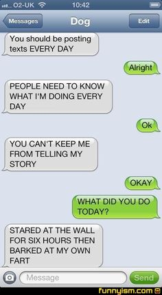 """I love these """"dog"""" texts conversations. Funnyism Picture 