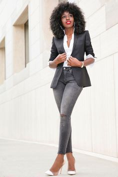 Style Pantry | Blazer + Button Down + Distressed Cropped Jeans