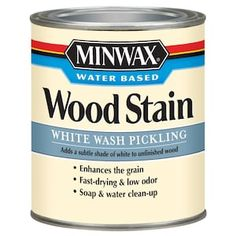 Minwax Pre-tinted White Wash Water-based Interior Stain (Actual Net Contents: oz) at Lowe's. Minwax water based wood stain is an easy way to add beautiful color to unfinished wood surfaces. Now available in 40 colors and 4 designer style color Color Washed Wood, Interior Wood Stain, Unfinished Wood Furniture, Distressed Furniture, Water Based Wood Stain, Aging Wood, White Stain, Minwax, Wood Surface