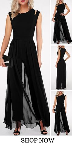 USD32.17  Black Round Neck High Waist Chiffon Overlay Jumpsuit, #freeshipping worldwide and easy returns, #coupons $6 off over $60, $9 off over $90, code: liligal2019. Click and find the 2019 #jumpsuit trends in #liligal. 17 Black, Fashion Wear, Fall Fashion, High Waist, Pretty Dresses, Beautiful Outfits, Looks, Casual Outfits, Cool Outfits