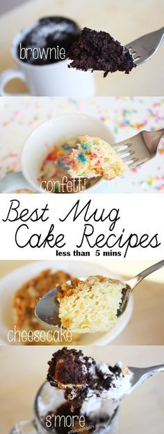 Top 10 Easy Mug Cake Recipes - dessert recipes takes less than 5 minutes to make! Chocolate brownie, confetti cake, s'more cake, cheesecake.