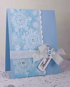 Shimmery Snowflakes by Nerina's Cards- embossed and shimmer mist Homemade Christmas Cards, Homemade Cards, Xmas Cards, Holiday Cards, Acetate Cards, Parchment Cards, Snowflake Cards, Embossed Cards, Winter Cards