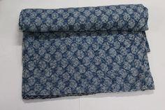 Indian Hand Block Print cotten Kantha Bedspeard cover Blanket Queen Size #Handmade #ArtsCraftsMissionStyle