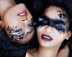 Halloween DIY Make-up ideas.image courtesy of Elizabeth Goh Yay Halloween! Creative Makeup, Diy Makeup, Makeup Art, Beauty Makeup, Makeup Ideas, Mask Makeup, Makeup Designs, Makeup Tips, Makeup Themes