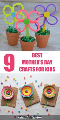 Brilliant ideas for Mothers Day crafts your kids will love making. With DIY projects using watercolors, fabric, pipe-cleaners, printables and even celery, theres something here for everyone. Diy Mother's Day Crafts, Mother's Day Diy, Spring Crafts, Diy Craft Projects, Preschool Crafts, Arts And Crafts, Mother's Day Projects, Classroom Crafts, Craft Ideas