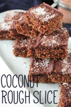 {Vegan and refined sugar free} Coconut Rough Slice. A baked chocolate and coconut base with a rich, decadent and super delicious chocolate topping. Chocolate Coconut Slice, Delicious Chocolate, Chocolate Topping, Healthy Sweet Treats, Healthy Desserts, Dessert Recipes, Pilsbury Recipes, Coconut Recipes, Vegan Recipes
