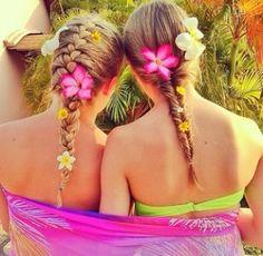 Best friends flowers in hair braids