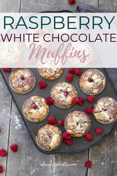 These raspberry white chocolate muffins come together in just about 10 minutes. They are juicy and sweet, with chunks of white chocolate melted on the top. The perfect treat! Vegan Breakfast Recipes, Brunch Recipes, Dessert Recipes, Desserts, Dinner Recipes, Sweet Pie, Sweet Tarts, Raspberry And White Chocolate Muffins, Butter Recipe