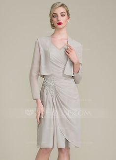 [£ 105.00] A-Line/Princess V-neck Knee-Length Chiffon Mother of the Bride Dress With Ruffle Beading Appliques Lace (008102675)