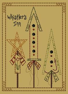 PK114 Whistler's Inn - 5x7 - $8.00 : Primitive Keepers, Prim Machine Embroidery Designs