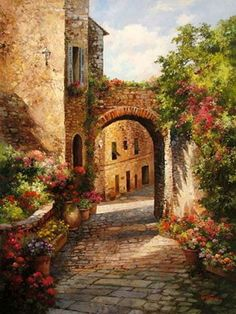 Paul Guy Gantner ~ Morning Walk in Antibes ~Galerie Zuger Dallas Antibes, Street Painting, House Drawing, Love Painting, Pictures To Paint, Painting Inspiration, Impressionism, Flower Art, Landscape Paintings