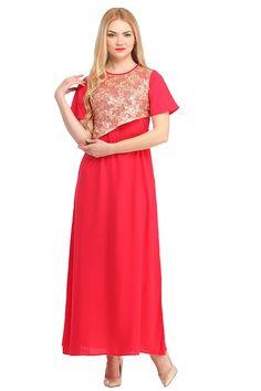9359ea3a87e6 Cottinfab Women s Red Cotton Maxi Dresses Color   Red Colored Febric   100%  Cotton Round