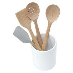 Threshold™ 5pc Beechwood Tool Set with Ceramic Crock