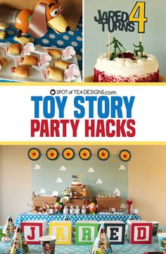 Check out these Toy Story Party Hacks to save you some mooney and make you proud you can put together a fun themed bash for your Toy Story fan! Fête Toy Story, Toy Story Baby, Toy Story Theme, Toy Story Birthday, Toy Story Food, Woody Birthday, Toy Story Crafts, Toy Story 3, Lego Birthday