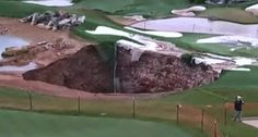 MISSOURI: Easier to get a hole-in-one - Sinkhole on golf course K Hole, Hole In One, Jack Nicklaus, Geology, The Rock, Missouri, Golf Courses, World, Sports