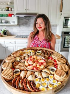 Easy-to-make Epic Summer Waffle Brunch Board perfect for a weekend breakfast. Building a brunch board is easy with waffles seasonal fruit eggs scones and meat! Party Food Platters, Food Trays, Snack Trays, Snack Platter, Party Trays, Breakfast Platter, Breakfast Recipes, Cute Breakfast Ideas, Grill Breakfast
