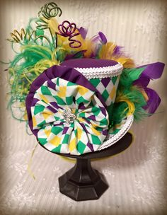 Mardi Gras Hat, Mini Top Hat, Steampunk hat, Mascquerade Hat, Carnival Mini, Alice in Wonderland Mini Top Hat, Tea Party Hat, Mad Tea Party by MKButlerDidIt on Etsy