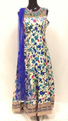 Silk print Long Anarkali Set - Blue