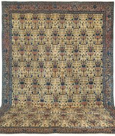 Ferahan, 14ft 1in x 24ft 9in, Circa 1875.   Unforgettable not only for its massive dimensions, but also its sophisticated, understated palette, this palace-size antique Ferahan carpet holds the top tier in both high decorative and connoisseur categories. With sublime artistry and superlative craftsmanship, it presents the famed Zul-i-Sultan (repeating nightingale and vase) design on the grandest scale we have encountered.
