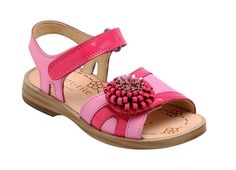 LOLA - pink leather girls sandals with soft leather upper for comfort and support.