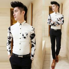 Chinese Style Slim Fit Contrast Color Sleeve Print Embellished Pocket Casual Fashion Dress Shirt Drop Shipping $20.99